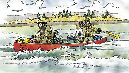 Two bowhunters, a bear, and an overturned canoe deep in the Adirondack wilderness…