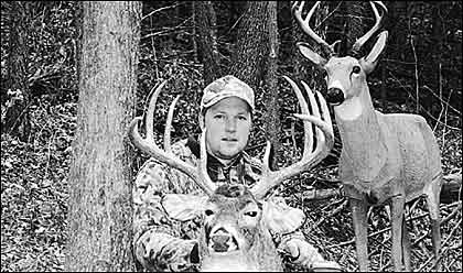 Mark Jost took this awesome whitetail in 1997 with the aid of a Carry Lite decoy. Mark believes in hunting in the open, making his decoy visible, to draw bucks in from the surrounding area. Mark is so excited about decoying he won't enter the woods without one.