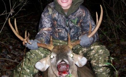 Ten-year-old Logan Maust of Smock, Pa., took this wide 8-pointer last fall using an Excalibur crossbow. New regulations adopted in Kansas will allow youth hunters there to use crossbows in that state's big-game seasons.