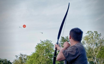 BOWHUNTING Editor Christian Berg fires at an aerial target launched by Laporte Archery's Phoenix thrower.