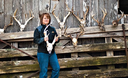 Tracy Woods and her dog Crystal found many more buck skulls than shed antlers last winter due to a
