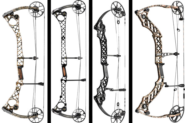The new Mathews HTR (left), TRG (second from left), Chill X Pro (second from right), and Z2 (right).