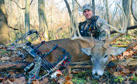 Vinatieri poses with a large whitetail buck he took in Ohio in 2011.  It has been said,