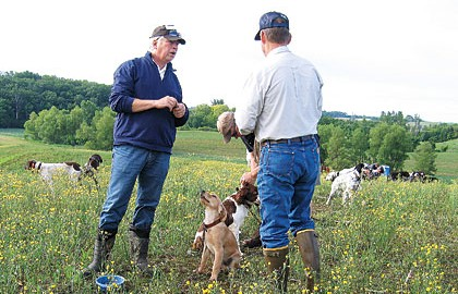 A rookie learns the basics of gun dog training from pro Rick Smith of HuntSmith dog training.