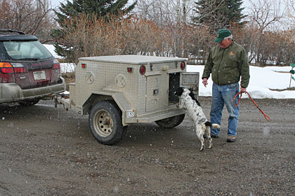 Jack Weiss uses a trailer, small enough to tow behind a Subaru, to  transport his springer spaniels on pheasant hunting excursions.