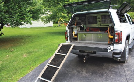 With your pickup set up correctly you have space for dogs and equipment for safe travel for training or hunting. You can avoid potentially serious joint problems and injuries by adding a ramp to your setup.