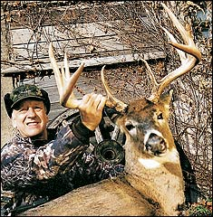 This giant buck gave the author the slip but later paid for his tolerance of human activity. Tom Kovach arrowed him. Photo courtesy of Tom Indrebo