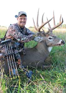 Author Travis Faulkner arrowed this dream buck, a 160-class 10-pointer, during his early-season hunt in Missouri. Hunting bucks like this while they are still in bachelor groups before they change their late-summer feeding habits is challenging, exciting and very effective.