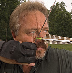 Shooting barebow means shooting a bow that has no sights. This technique is used mainly by