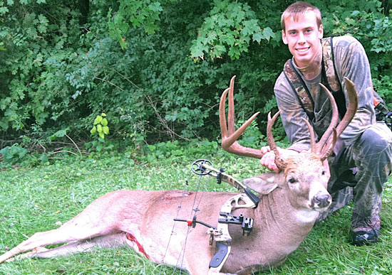16-year-old Zeb Farley took this fantastic non-typical buck the opening morning of Ohio's bow