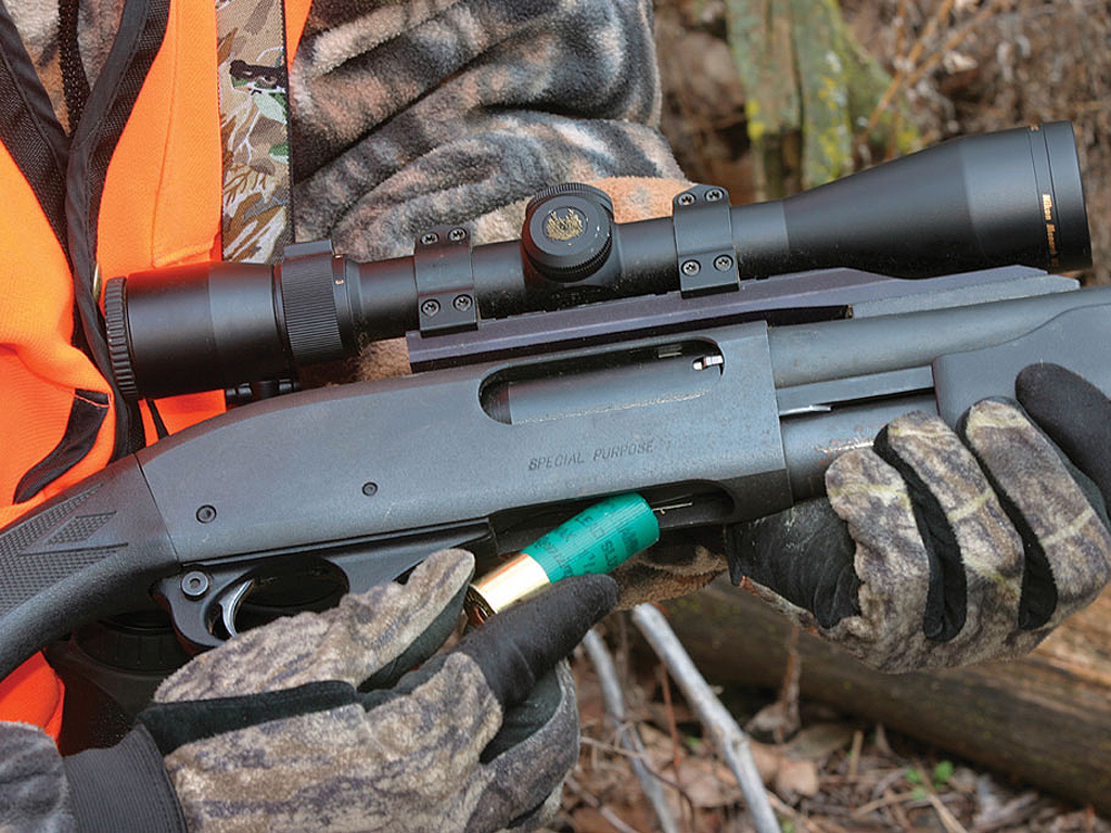 Modern slugs and slug guns can deliver reliable accuracy to -- and beyond -- 150 yards, greatly expanding the effective killing range of a shotgun hunter. Photo by Mark Kayser/windigoimages.com.