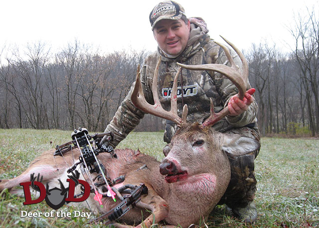 Illinois bowhunter Jeff Schoeps knew this buck was in the area he hunted from the many trail cam