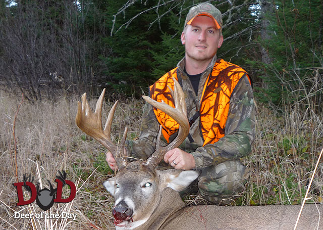 While hunting in Kenora, Ontario, Canada, Adam Koorndyk of Michigan dropped a buck featuring webbed
