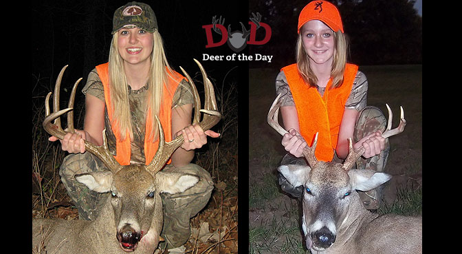 Sisters Ashlen and Makenzy Hamon from Piedmont, Oklahoma harvested these bucks in 2011 while