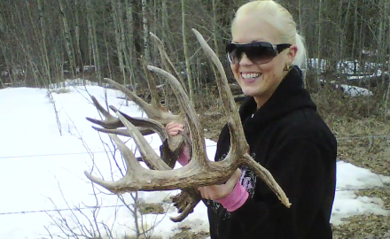 An Alberta couple stumbles across a huge set of freshly shed whitetail antlers.