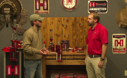 Pat Hogan visits with Hornady's Neal Emery about the tools of the reloading trade.