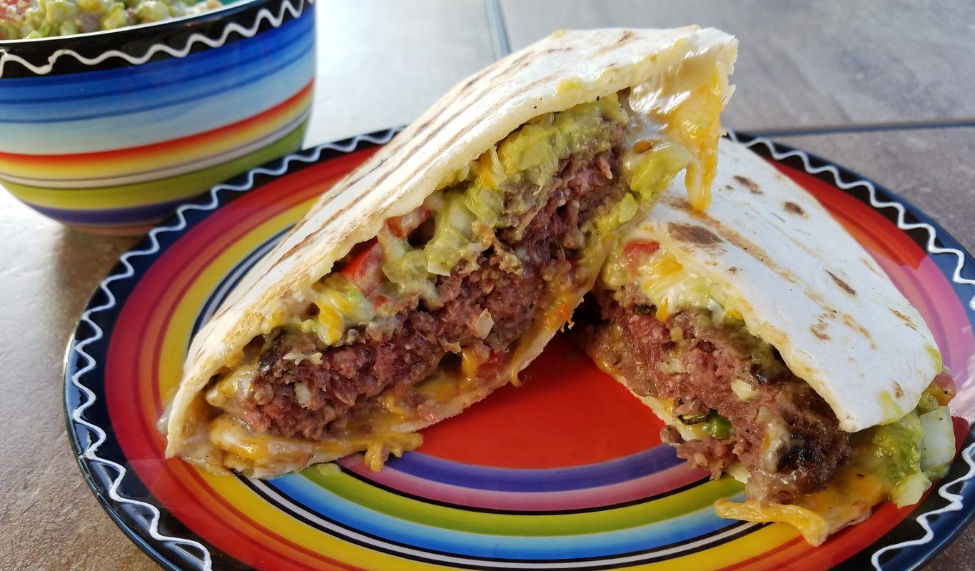 Grilled Venison Quesadilla Burger with Guacamole Recipe