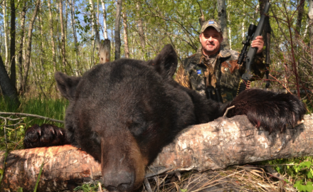 Bob Kaleta of Zeiss with his bruiser black bear