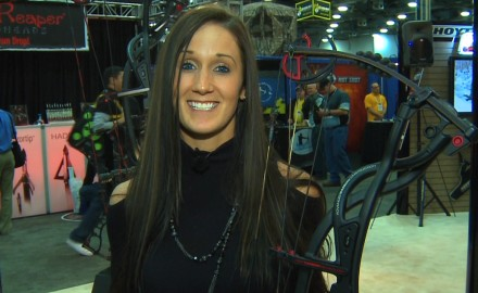The new Hoyt Carbon Element is one impressive bow.  Melissa Bachman stops by the Hoyt booth to go