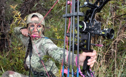 I'm not the only girl hitting the woods these days with pink strings and cables on my bow, pink