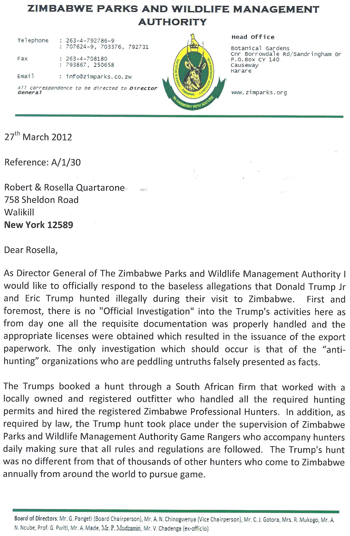 Exclusive Update: Zimbabwe Authorities Refute Allegations of Trumps' Illegal Hunt