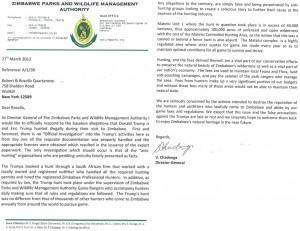 Zimbabwe letter