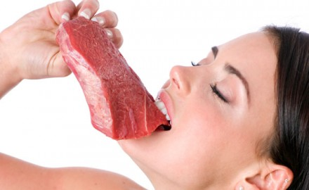 Girl-eating-meat