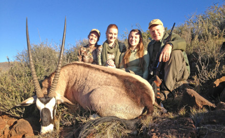 Donna, Brittany, Caroline & Craig Boddington with Caroline's first gemsbuck shot at about 280