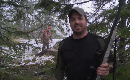 Mike Schoby takes a quick breather while hunting moose in Norway, when he is suddenly forced to act.