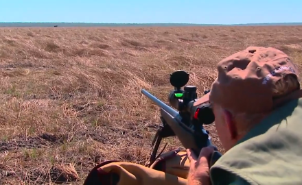 Craig Boddington is hunting long range on the flood plains of Australia in search of a nice buffalo.