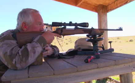 Kevin Steele sights in his CZ .557 carbine rifle that he plans to use on a Colorado elk hunt.