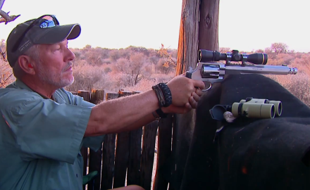 Kevin Steele and Tony Miele are gunning for a wildebeest bull with the S&W Performance Center's .460 Revolver.