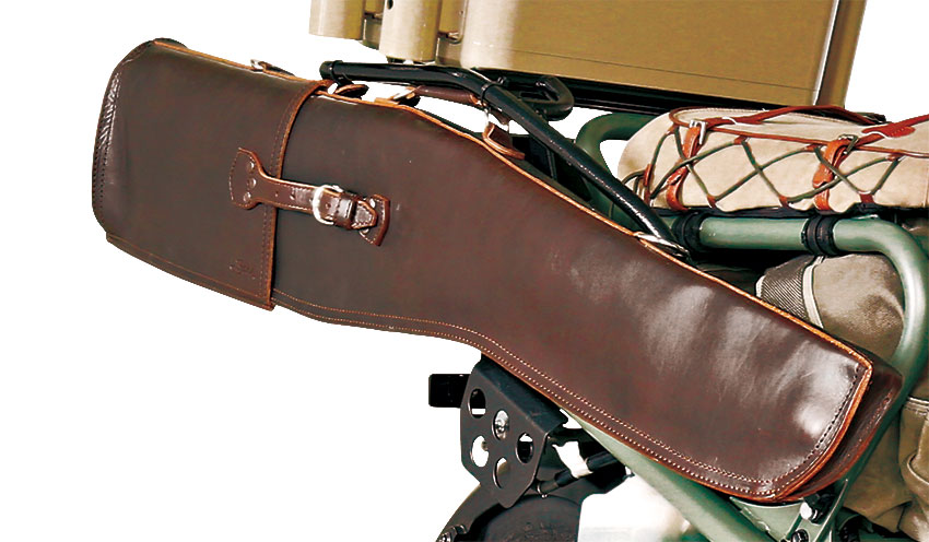 All of the saddleback components are solid D rings, rivets and buckles so they will stand up to the miles of back road vibrating. saddlebackleather.com