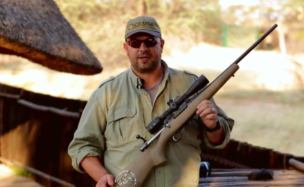 Jason Morton of C-Z USA makes sure his gear is good to go as he sights in for an african safari