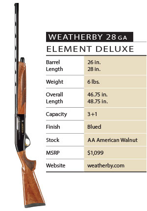 Weatherby 28ga Element Deluxe Specs