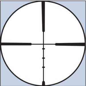 The Burris ballistic plex reticle is a duplex-style with four additional elevation holds. The holds equate to 1.4, 4.3, 7.2, and 10.5 MOA from a 100-yard zero and match the average bullet path of many common cartridges.