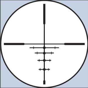 Bushnell's DOA 600 reticle does double-duty as a bullet drop compensator and as a means for estimating a deer's rack at various distances. Four elevation marks with MOA dots have vertical brackets that compute to 24 inches at various distances when the scope is at full power.