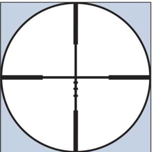 """The Kaspa's Ballistic-X reticle combines a center crosshair with three """"come-up"""" marks below it that very roughly equate to 300, 400, and 500 yards with a 200-yard zero. Using the interactive EBX ballistics chart on Weaver's website, you can determine what your bullet's drop will be for each of those hash marks."""