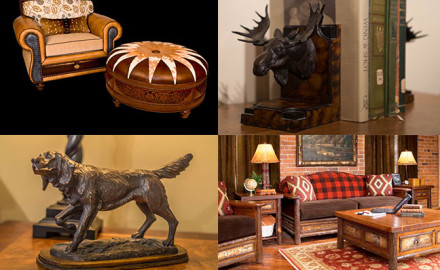 An accumulation of magnificent taxidermy, animal hides, sporting art and worn leather furniture