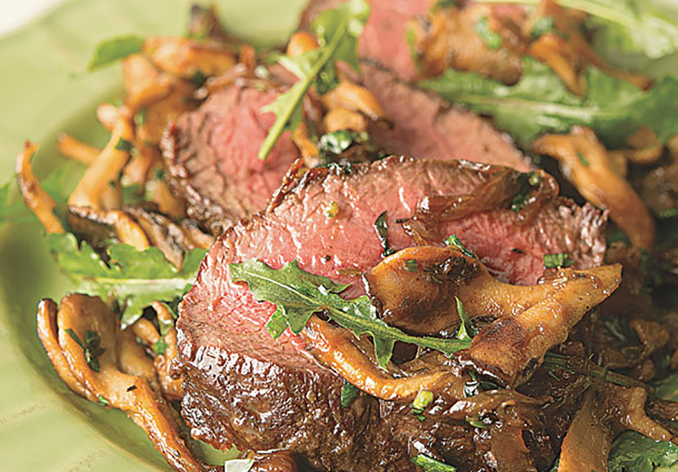 Backstrap with Caramelized Onions and Mushrooms