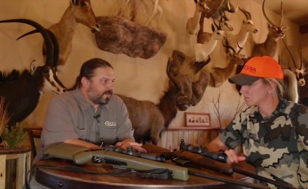 Kali Parmley and Jason Morton of CZ-USA choose their weapon of choice for hunting pronghorn