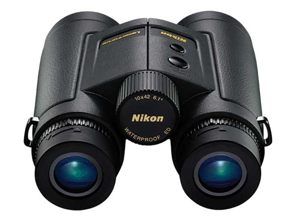 Adding range-finding capability to the superior extra-low dispersion glass and multicoated lenses on Nikon's LaserForce binoculars place these 10x42's at the front of the line in hunting optics technology.