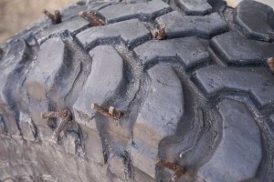 5) This much-abused BFG Mud-Terrain  has been plugged two  dozen times by students.  It still holds air.