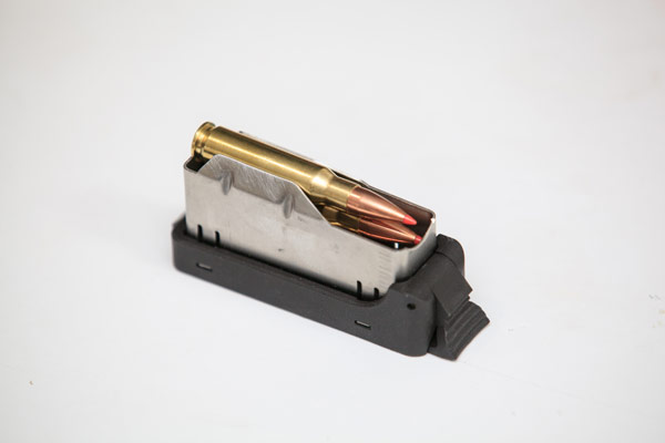 The Hunter's detachable box magazine holds three rounds, regardless of the chambering.
