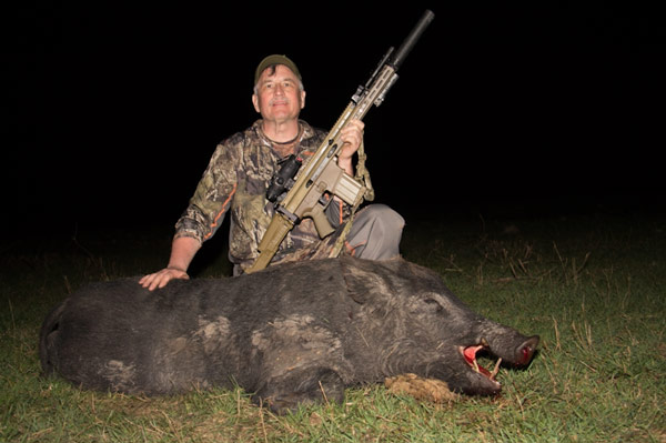 While the REAP IR's thermal imaging made sneaking in close on feeding hogs at night easy, the author was able to consistently shoot sub-MOA groups on 200- and 300-yard steel targets day or night using only the 2.5x optical zoom on his suppressed Mk-12 SPR chambered in 5.56mm.