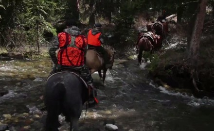 Kevin Steele is armed with both a handgun and rifle as he hunts bear via horseback in the Rocky