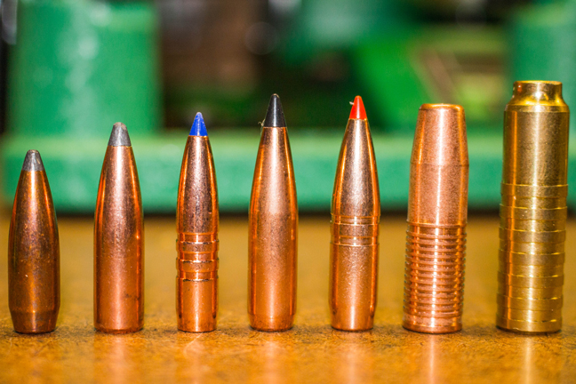 A selection of classic and modern bullets, from cup-and-core to monometal.