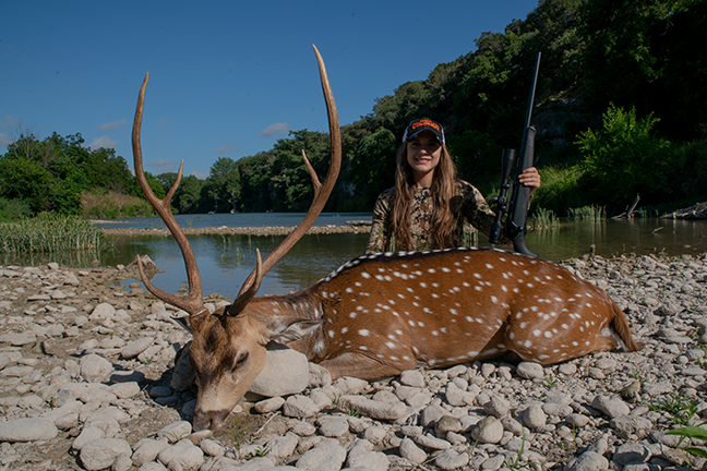Emily Kantner with Axis Buck