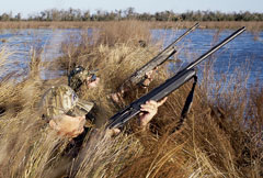It would improve one's success to have the shotgun in a more ready position -- in the blind.