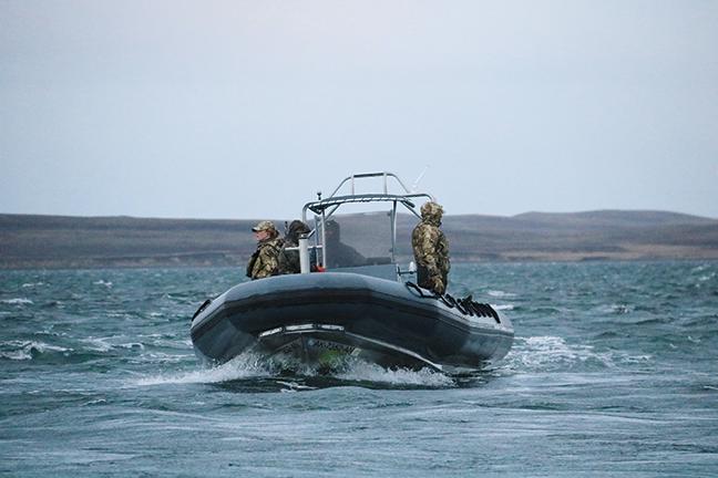 Goose Hunters in Boat